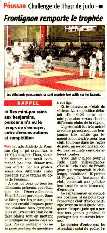 Mai/Juin 2009 (Midi Libre): POUSSAN - Challenge de Thau - Frontignan remporte le trophée