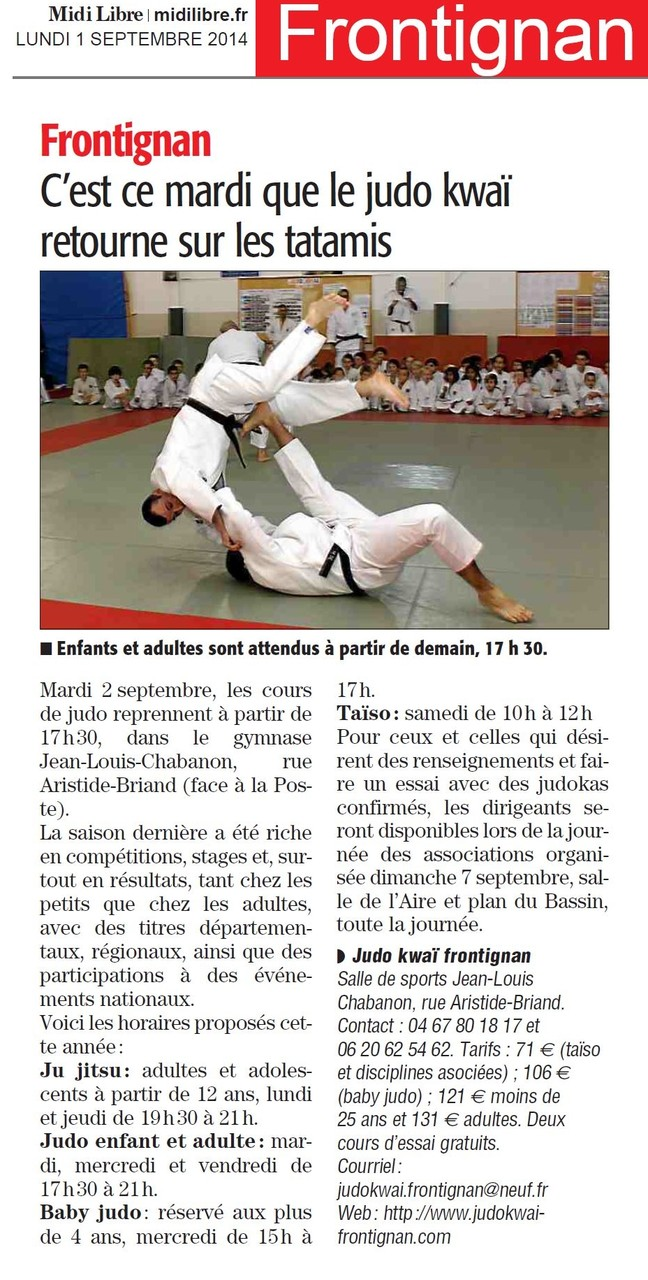 01 Septrembre 2014 (Midi Libre): Rentrée sportive