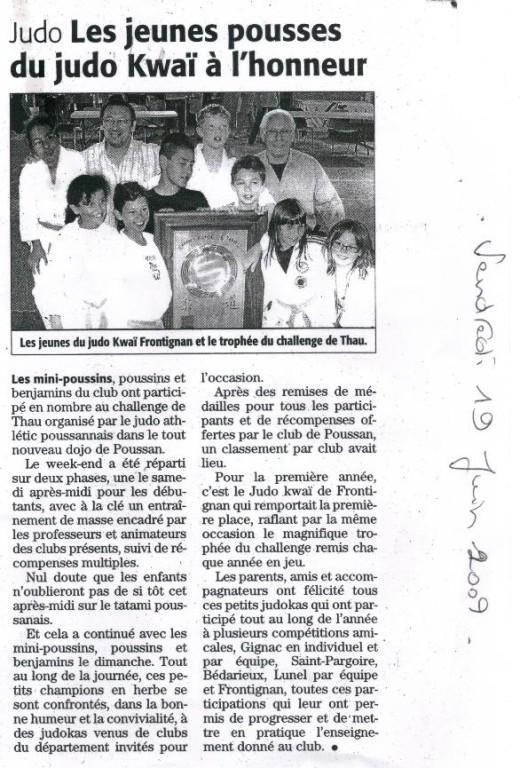 19 Juin 2009 (Midi Libre): Les jeunes pousses du Judo Kwaï à l'honneur