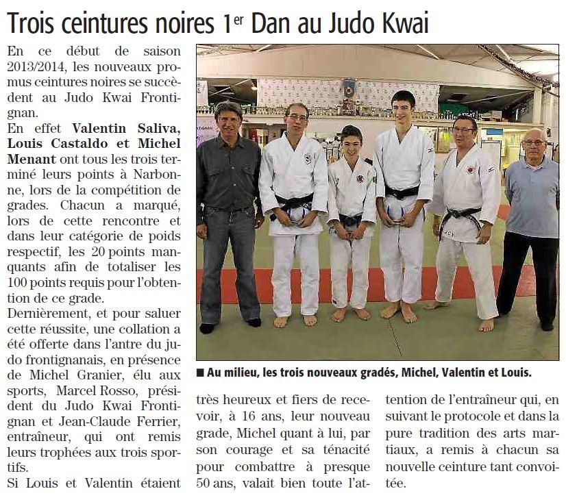 13 Janvier 2014 (Midi Libre): 3 nouveaux gradés au JKF