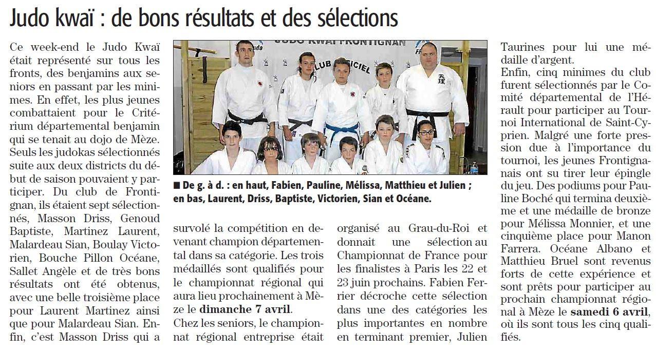 03 Avril 2013 (Midi Libre): De bons résultats et des sélections