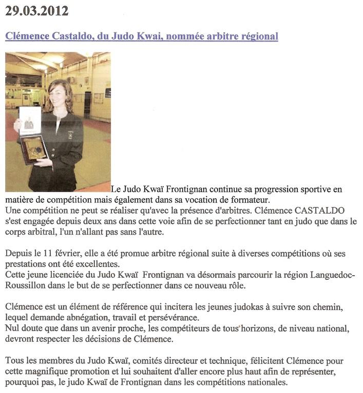 29 Mars 2012 (Midi Libre): Clémence Castaldo, du Judo Kwai, nommée arbitre régionale