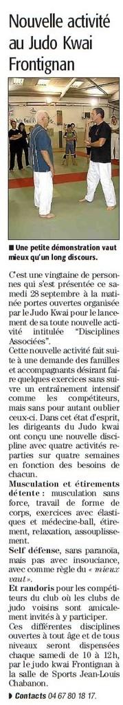30 Septembre 2013 (Midi Libre): Disciplines associées au JKF