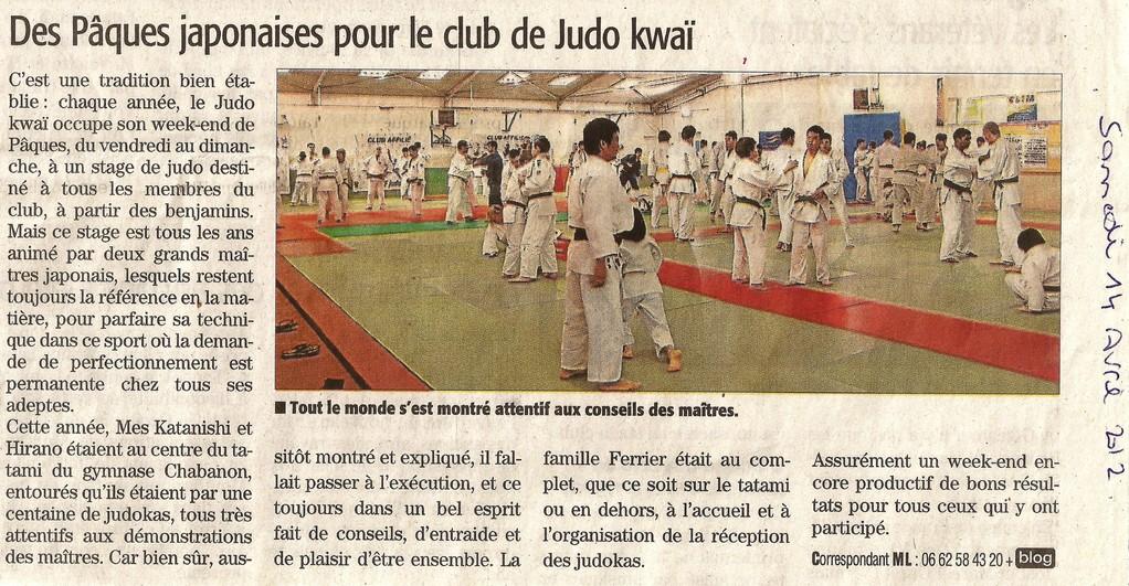 14 Avril 2012 (Midi Libre): Des Pâques japonaises au Judo Kwai