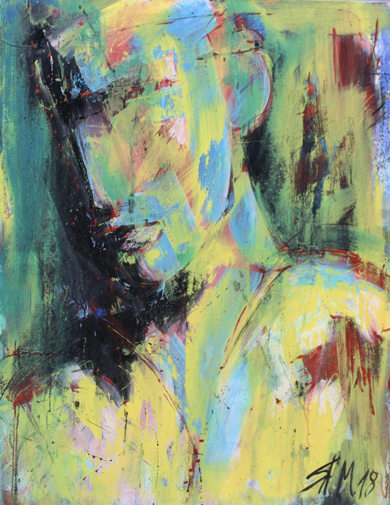 """ohne Titel"", mixed media on canvas, 2018,"