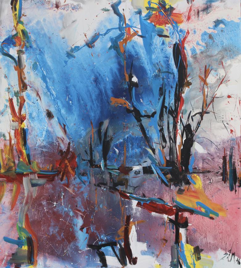 """""""Gewitterstimmung"""", mixed media on canvas, 2017"""