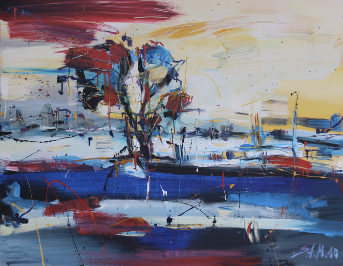 """Landschaft"", mixed media on canvas, 2017"