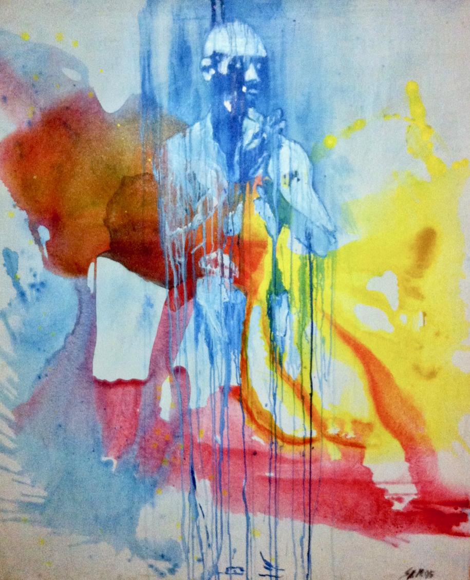 """""""Den Zustand des Fließend noch erkennen lassend"""", 1995, Media on Canvas, Privatbesitz"""