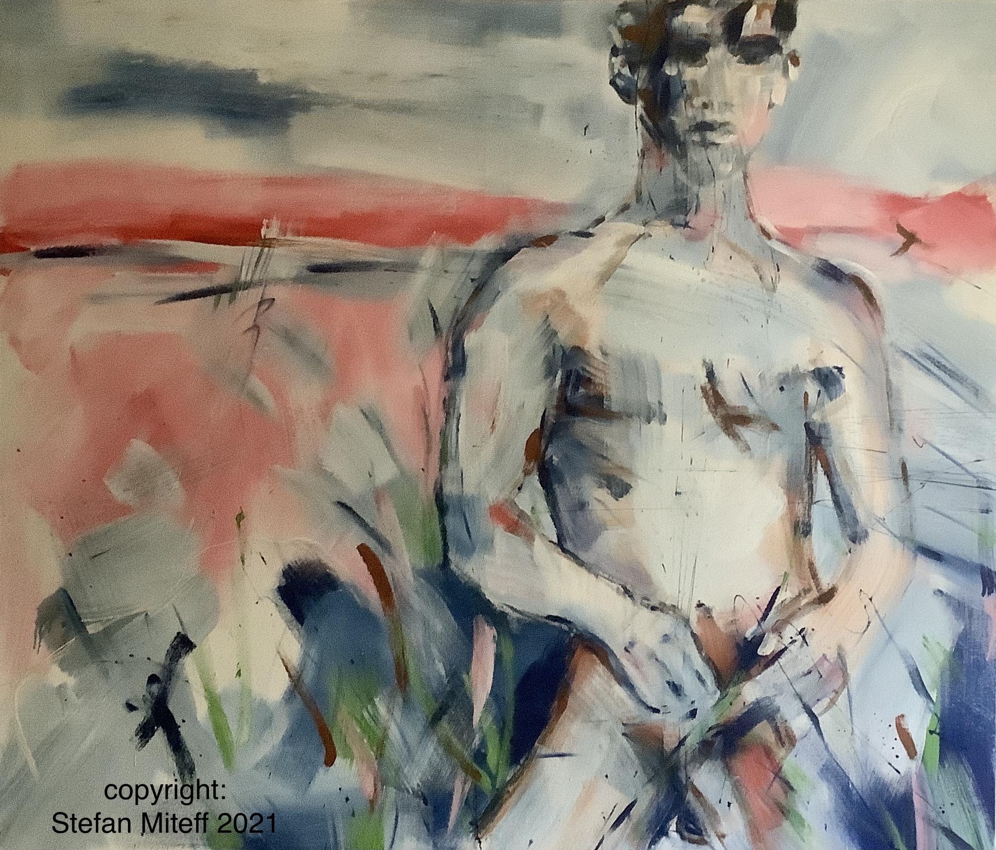 """""""Männerakt"""", 119cm x 139cm, Mixed Media On Canvas, ©️Stefan Miteff 2021"""