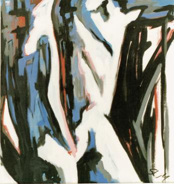 """""""Rückenakt"""", 1983, Dispersion auf Canvas, Privatsammlung"""
