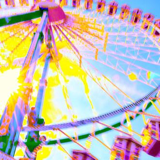 buntes Riesenrad in Popart-Farben aus der Serie Wiesn