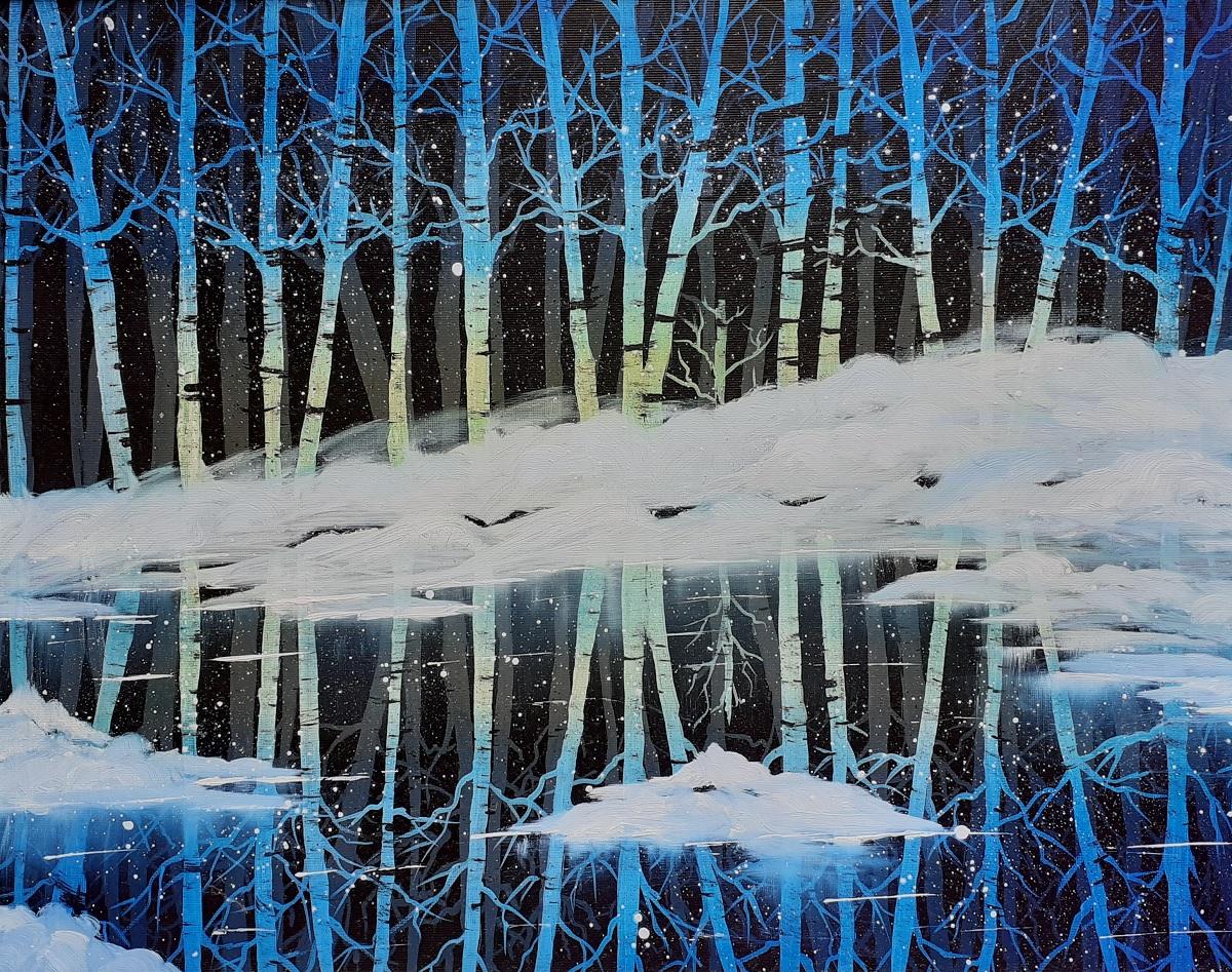 Birken im Eissee blau, Öl auf Strukturpapier. Landschaftsgemälde by Daninas-Kunst-Werkstatt. Das in kalten Farben gemalte Naturbild eignet sich hervorragend für Ihr Schlafzimmer. Welche Farben in welchem Zimmer? Mehr Infos auf meiner Website …