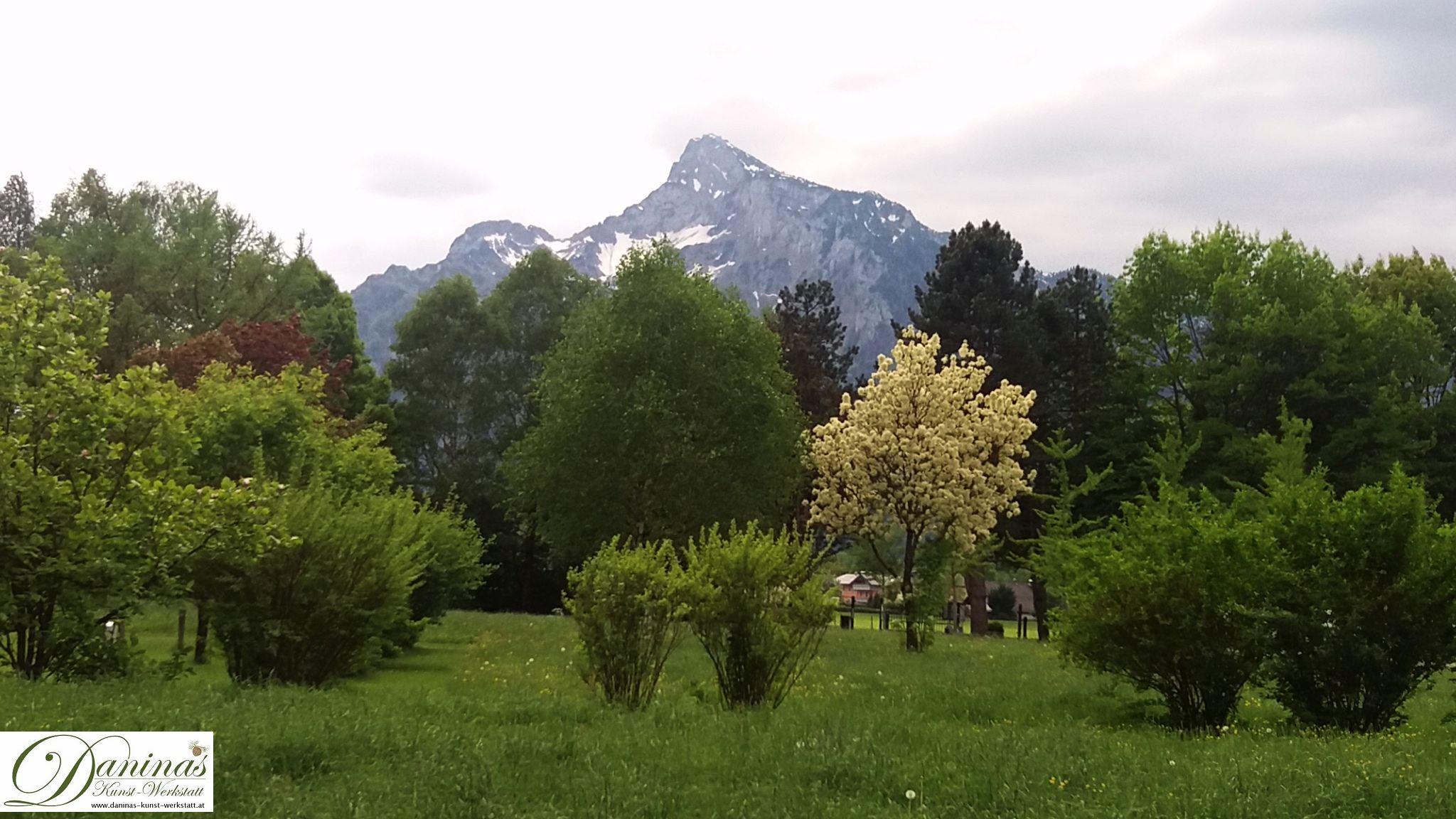 Blick zum sagenumwobenen Untersberg. Der Salzburger Kommunalfriedhof ist aufgrund seiner landschaftsarchitektonischen Schönheit und prächtigen Lage einzigartig und einen Besuch wert!