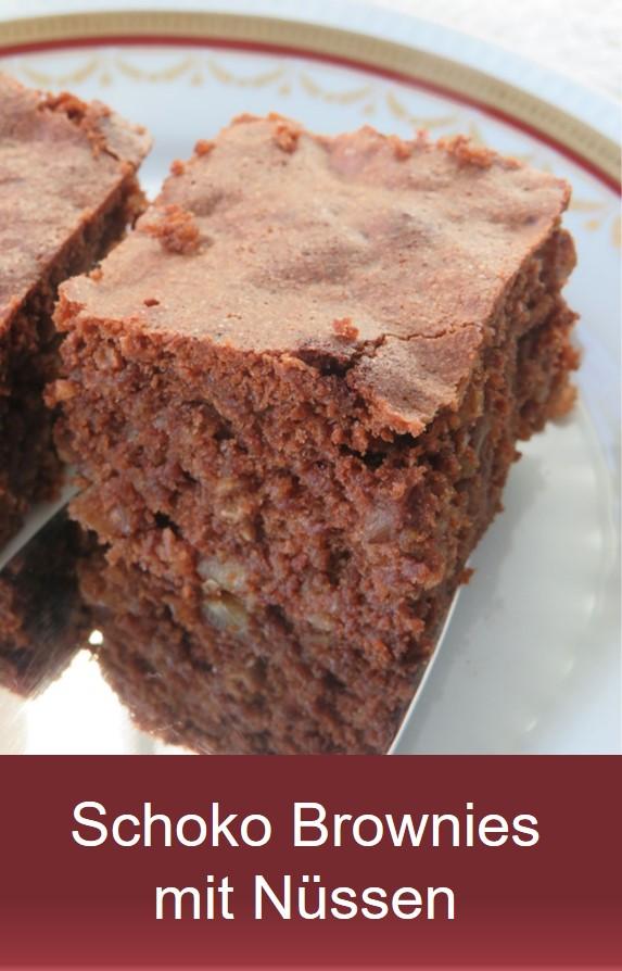 Schoko Nusskuchen: Brownie Rezept