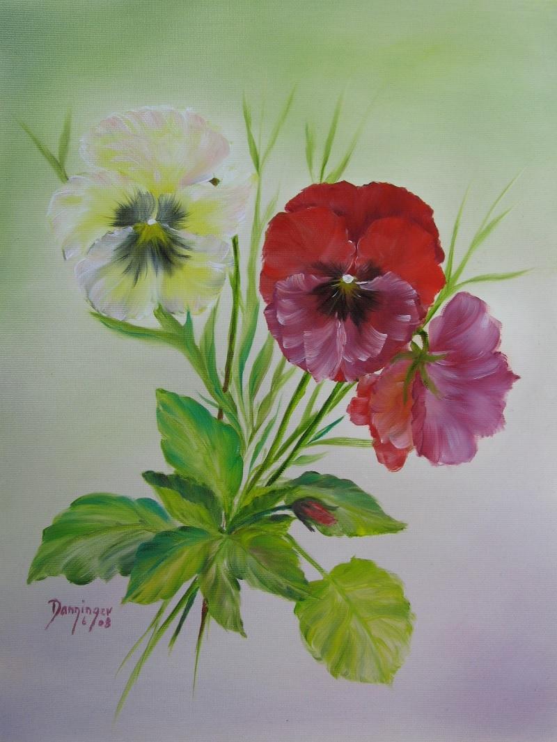 Stiefmütterchen, Ölbild auf Strukturpapier. Gemaltes Blumengemälde by Daninas-Kunst-Werkstatt