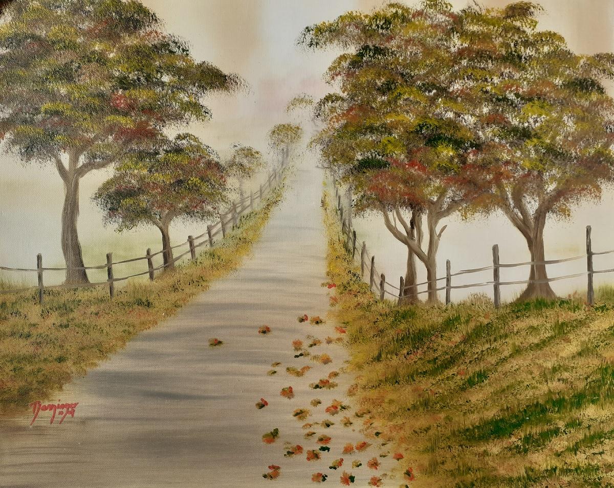 Herbst - Allee im Nebel, Öl auf Strukturpapier. Landschaftsgemälde by Daninas-Kunst-Werkstatt. Übrigens: Naturbilder senken Pulsschlag und Cortisol-Werte und sorgen für rasche Erholung! Sie wollen erfahren wie? Schauen Sie doch mal bei mir vorbei …