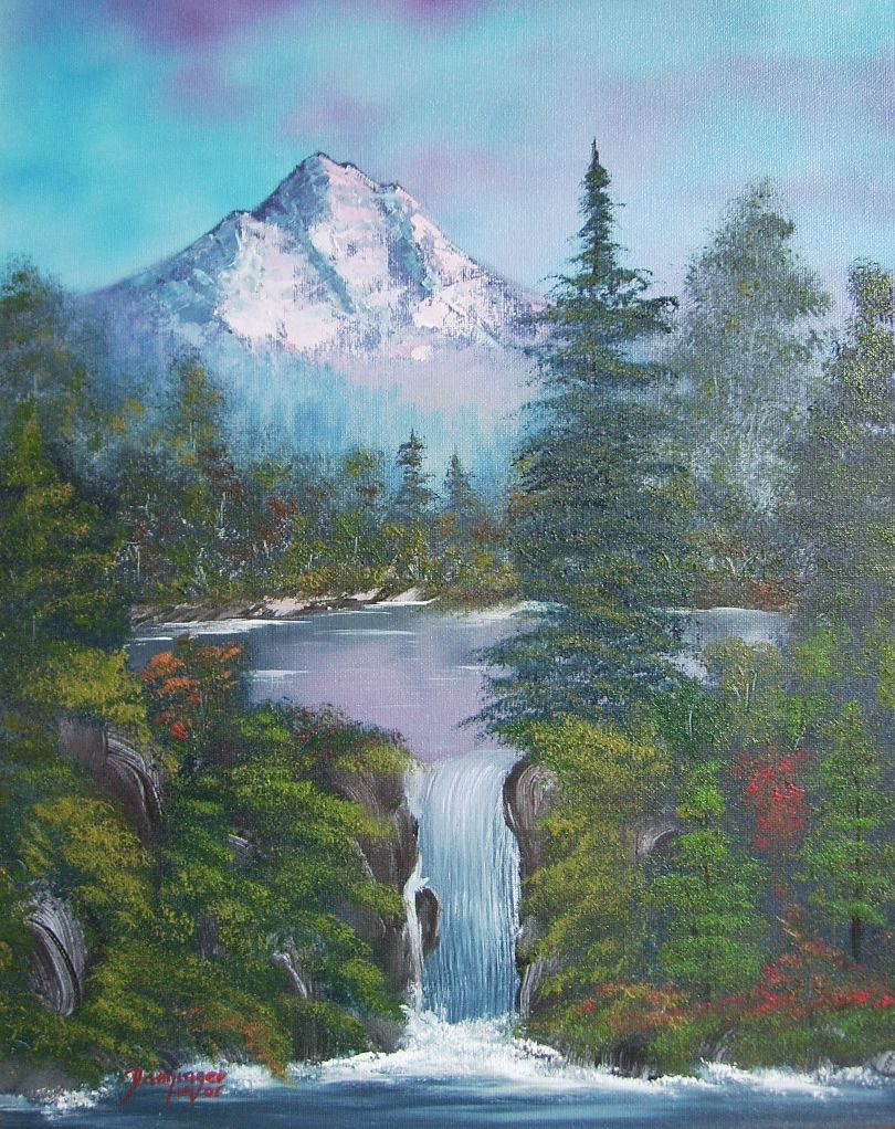 Wasserfall mit Berg, Öl auf Leinwand. Gemaltes Landschaftsgemälde by Daninas-Kunst-Werkstatt.at