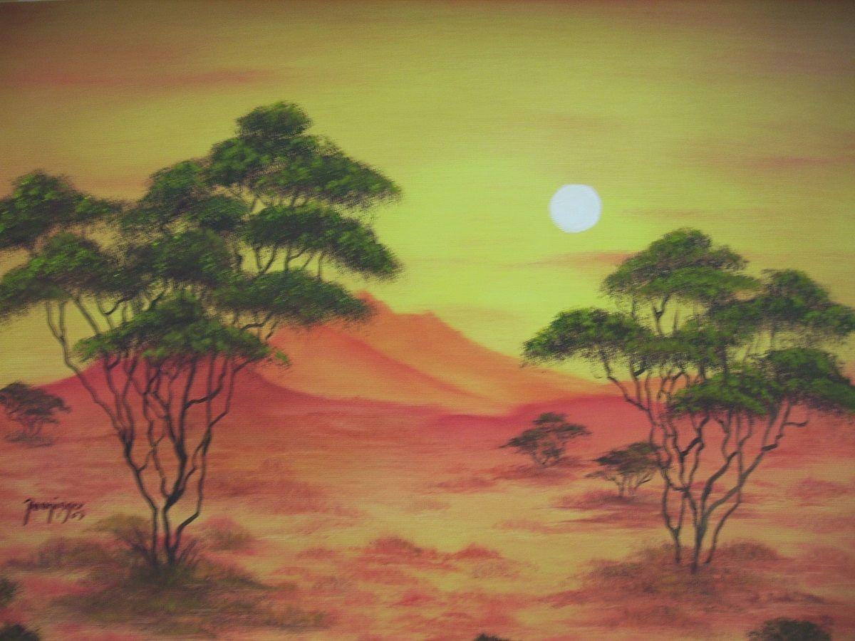 Sonnenuntergang in Afrika, Öl auf Strukturpapier. Landschaftsgemälde by Daninas-Kunst-Werkstatt. Das in warmen Farben gemalte Naturbild eignet sich hervorragend für Ihr Wohnzimmer oder Kinderzimmer. Mehr über Farbenlehre finden Sie auf meiner Website ...