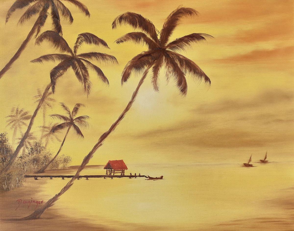 Hawaii Palmen am Strand, Öl auf Strukturpapier. Handgemaltes Landschaftsgemälde by Daninas-Kunst-Werkstatt. Sie wollen wissen, weshalb Sie Naturbilder gesünder und glücklicher machen? Schauen Sie doch mal bei mir vorbei …