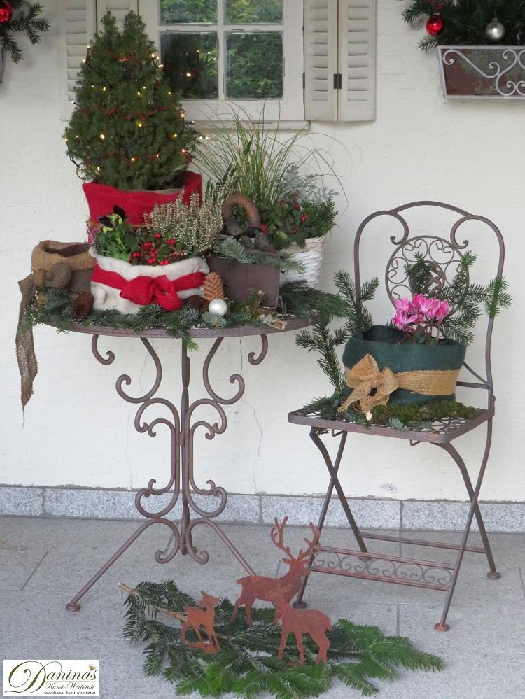 Weihnachtsdeko mit winterharten Pflanzen auf der Terrasse