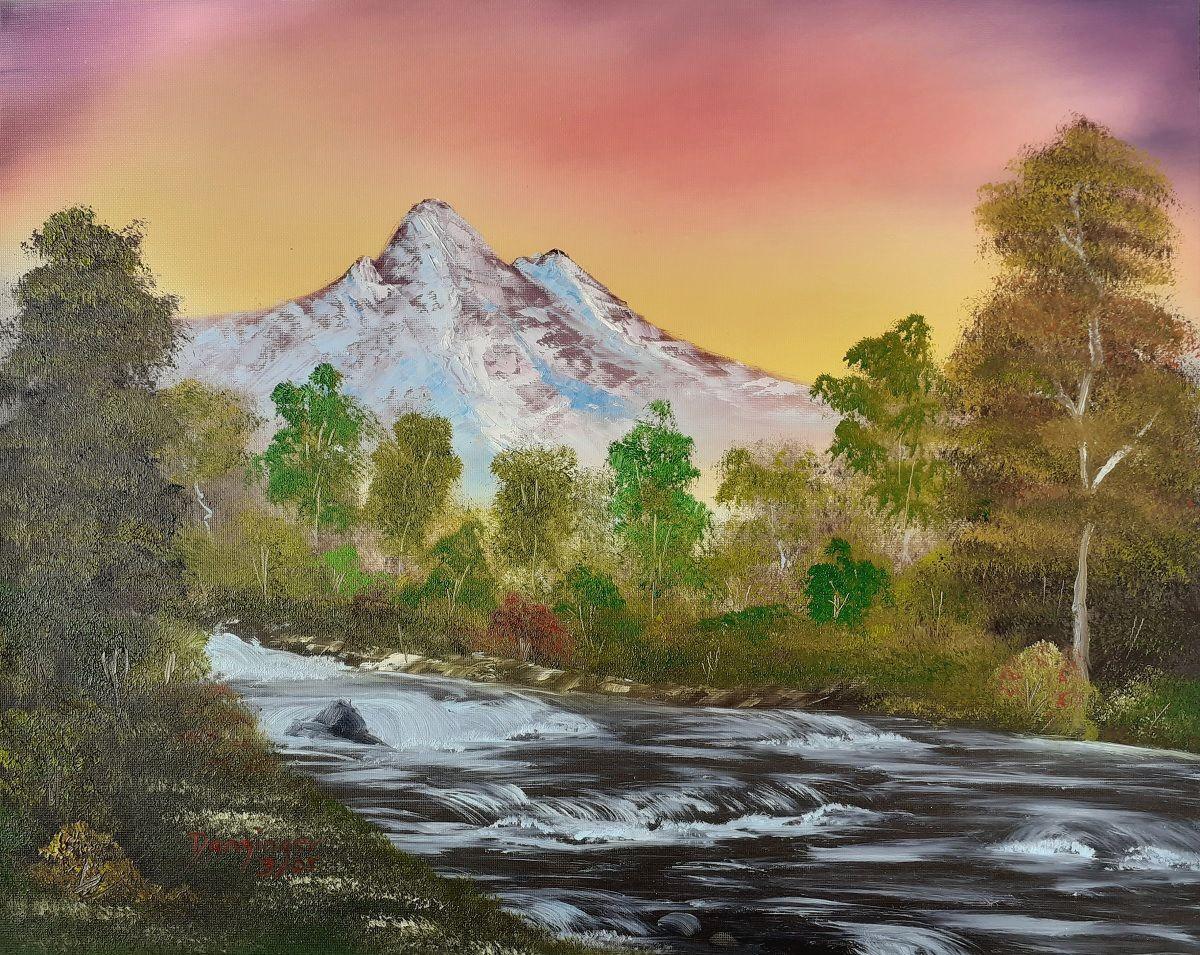 Der reißende Fluss, Öl auf Strukturpapier. Handgemaltes Landschaftsgemälde by Daninas-Kunst-Werkstatt. Wussten Sie, dass Naturbilder Ihr Wohlbefinden steigern können? Wie? Schauen Sie doch mal auf meiner Website vorbei …