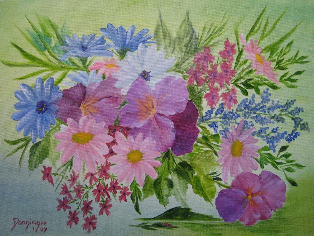 Bunte Blumen, Öl auf Leinwand. Handgemaltes Blumengemälde by Daninas-Kunst-Werkstatt. Kennen Sie die wohltuenden Effekte von Pflanzen? Nein? Dann schauen Sie doch mal auf meiner Website vorbei …