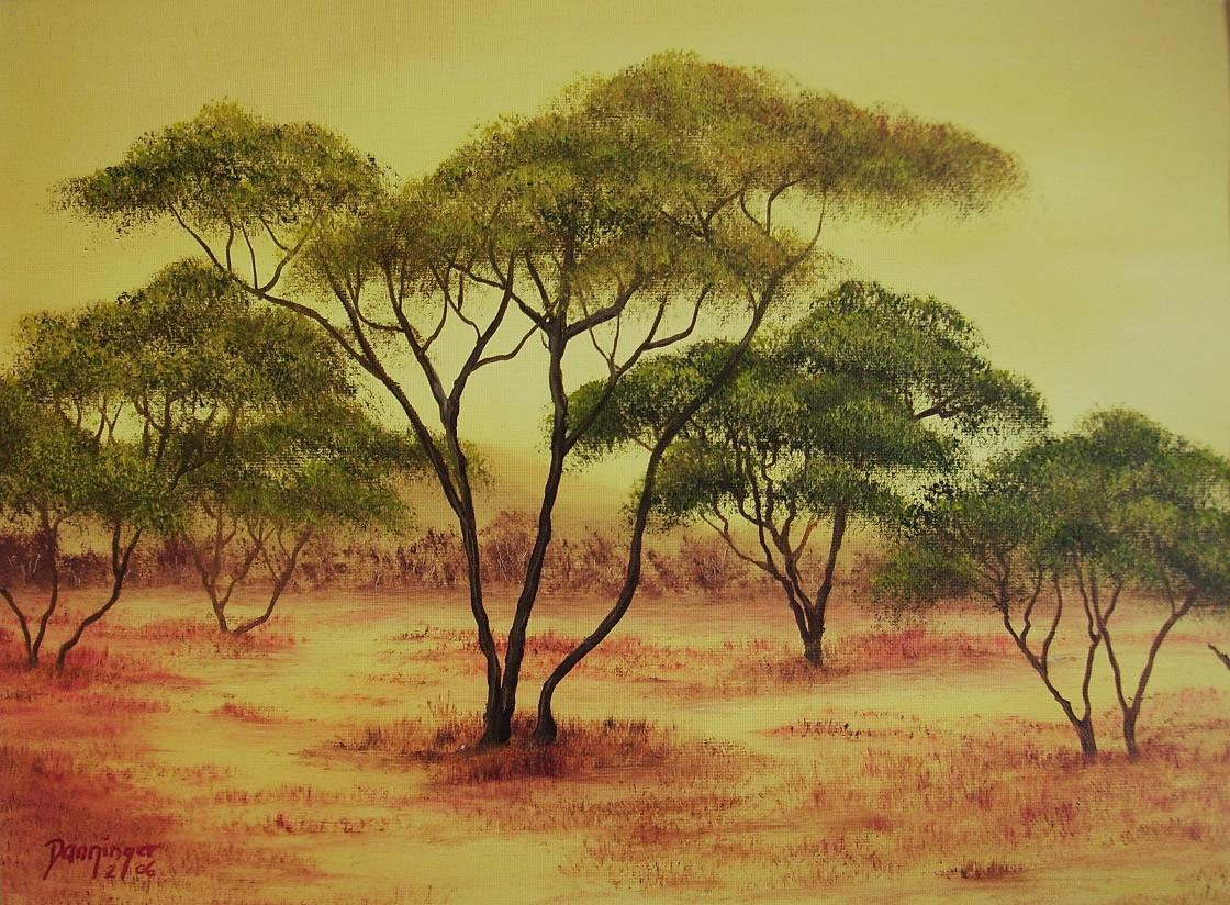 Afrika Kalahari, Öl auf Strukturpapier. Handgemaltes Landschaftsgemälde by Daninas-Kunst-Werkstatt. Wussten Sie, dass Naturbilder Ihr Wohlbefinden steigern können? Wie? Schauen Sie doch mal auf meiner Website vorbei …