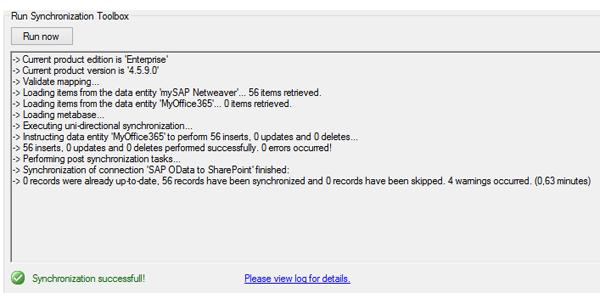 Synchronisation SAP Abfrage mit SharePoint bzw. Office 365 Liste
