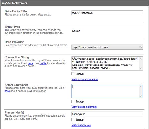 Abb.: Beispiel einer Verbindung zum SAP NetWeaver Demoportal über OData