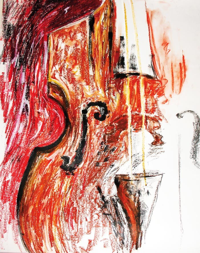 """""""Cello"""", Pastel, Acrylic, ink on paper, 2005"""