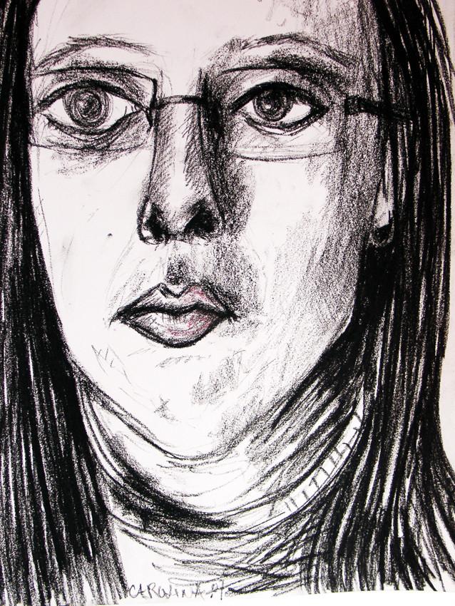 """Patrícia"", Charcoal, pastel on paper, 2007"