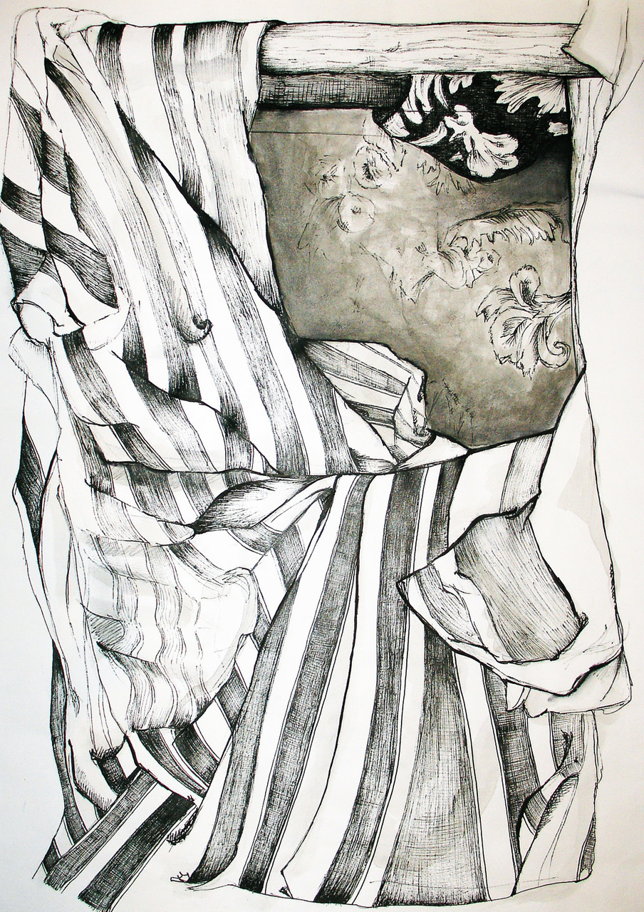 """""""Drapery I"""", Graphite, ink on paper, 2005"""