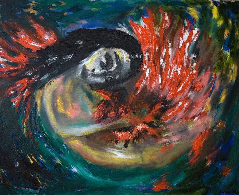 """""""Fire Bird"""", Oil, acrylic, charcoal on canvas"""