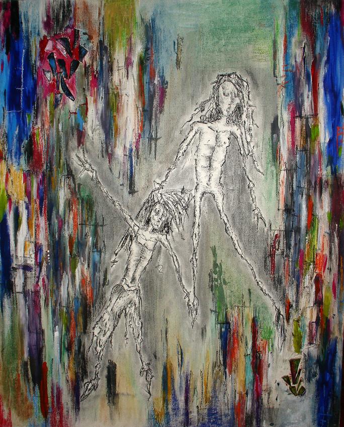 """Untitled"", Acrylic, Charcoal, pastel, broken glass, 2004"