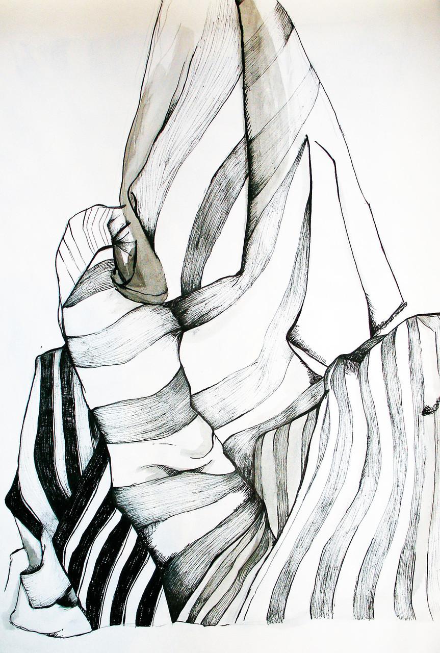 """Drapery II"", Graphite, ink on paper, 2005"