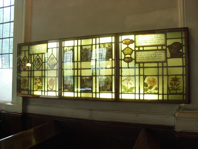Some old stained glass is displayed on the wall by the entrance to the Foden Room. A series of 17th-century glass depicts flowers and fruit and has a rhymed calendar giving the feast days of the Church's year. It came here from Castle Bromwich Hall.