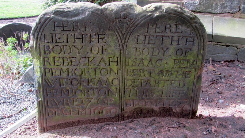 The grave of Isaac & Rebeckah Pemberton who died in 1697 and 1660 respectively