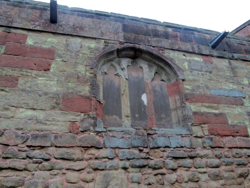 Blocked 15th-century clerestory window - north wall of the chancel
