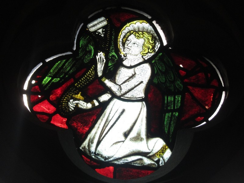 Fragment of medieval glass reinserted in the chancel south window