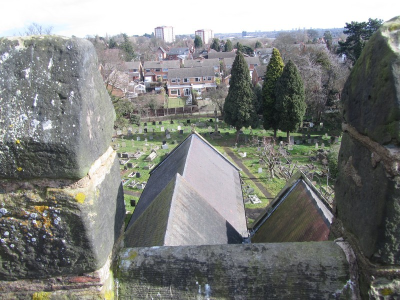 View east from the top of the tower showing the weeping chancel