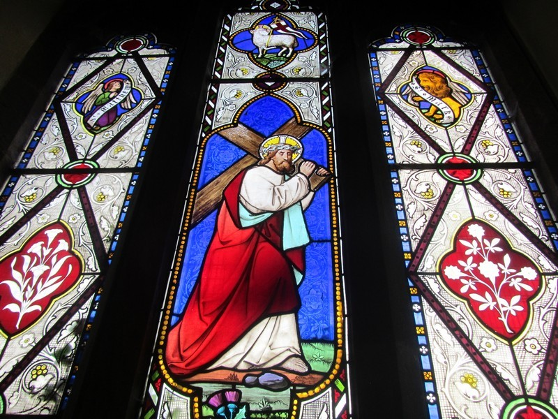 Victorian stained glass in the east window - 1870 White family