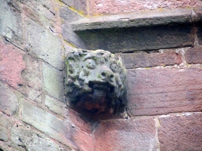 14th-century carving on the 16th-century tower