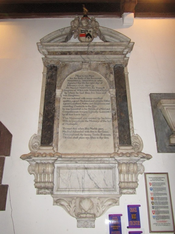 Memorial to Rev Marshall Greswold d.1728