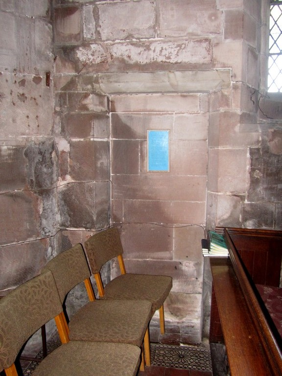 Blocked doorway north-east end of the church - it probably led up to an 18th-centruy  gallery which was removed in 1867.