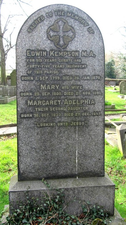 Edwin Kempson, the first rector, died 1879