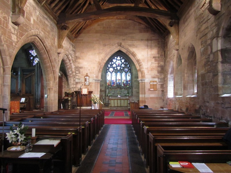 Looking east along the nave to the chancel