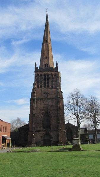 The church tower viewed from the west