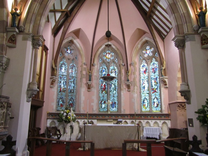 The chancel and sanctuary were refurbished under the supervision of architect Anthony Chatwin in 1995 after a fire