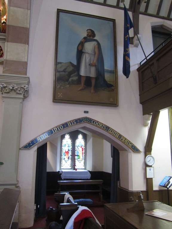 South-east chapel. The painting of St Peter is by Dawn Cookson 1972, a pupil of Pietro Annigoni.