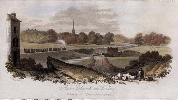Aston Church 1860 & Viaduct Engraving after Samuel Lines